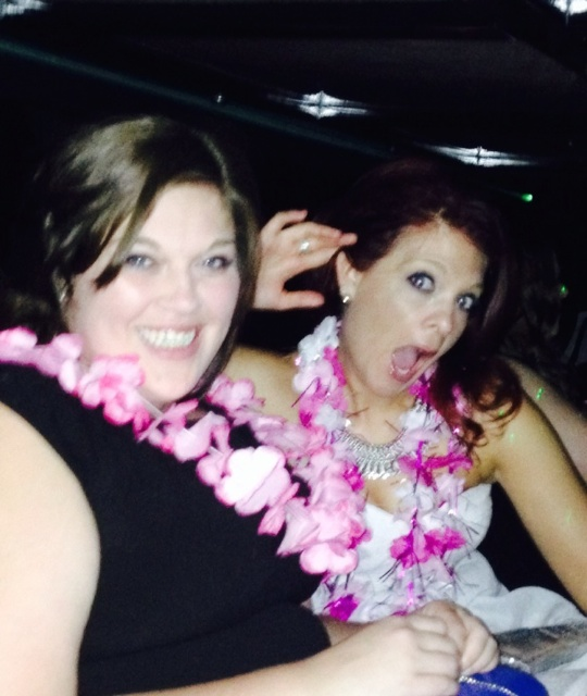 Heather & Ally in the limo